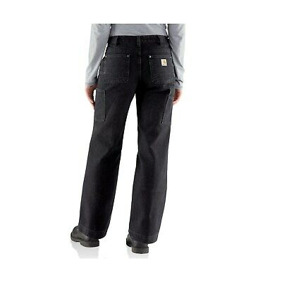Carhartt Relaxed Fit Kane Dungaree Black Utility Work Pants Womens Sz 10 short