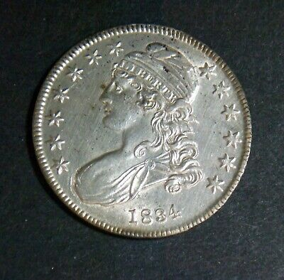 1834 50C Small Date, Small Letters Capped Bust Half Dollar AU/UNC O-115