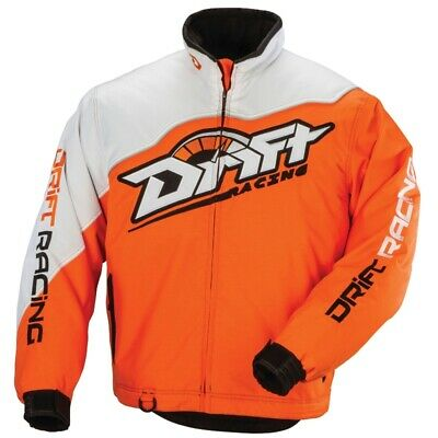 Drift Racing Men's Splitter Waterproof Insulated Jacket Orange & White 5265-17_