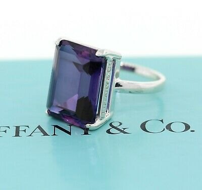 Auth Tiffany & Co Sparklers Sterling Silver Amethyst Cocktail Ring Size 7