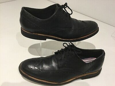 Mens Clarks Soft Black Leather Brogues Shoes Uk8.5 Smart Casual Career Office