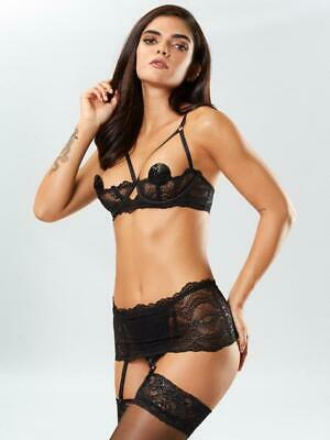 Ann Summers Kora Lace Bra and Crotchless Thong Set - Sizes S - L