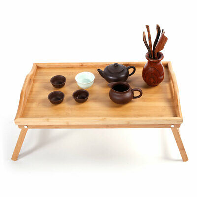 US Folding Bamboo Wood TV Tray Dinner Table desk Serving Snack Tea Portable Wood