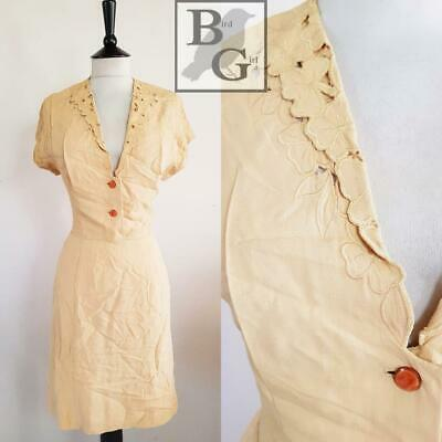 Original Wartime Ww2 1940S Vintage Cream Floral Cut Work Landgirl Dress  12
