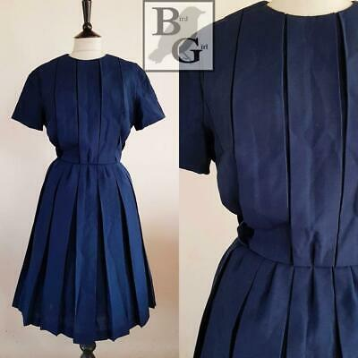Original 1950S Vintage Navy Blue Wool Box Pleated Swing Day Dress 14 M