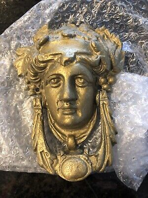 Vintage RARE Architectural Salvage Brass Medusa Head Athena Baroque Door Knocker