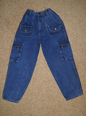 "Boys Childs Kids Blue Jeans Combat Style Trousers Age 7 Years Waist 22""-24"" Used"