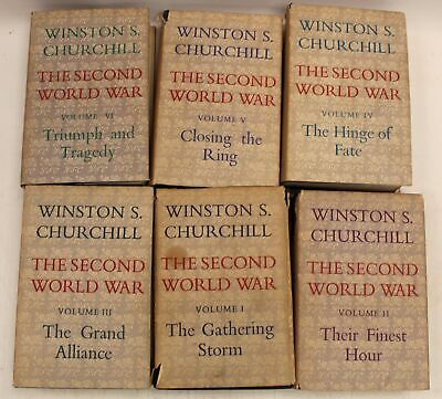 Vintage THE SECOND WORLD WAR Books by Winston S Churchill Vol. 1-6, 1950's - S95