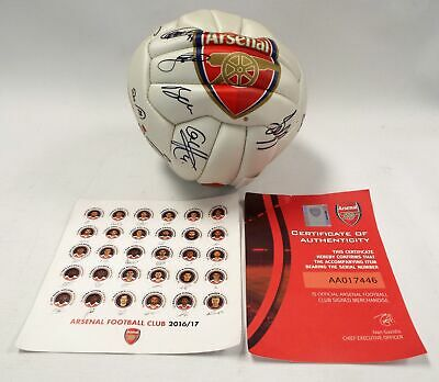 ARSENAL FC FOOTBALL CLUB 2016/17 Official Signed Football + Certificate - B81