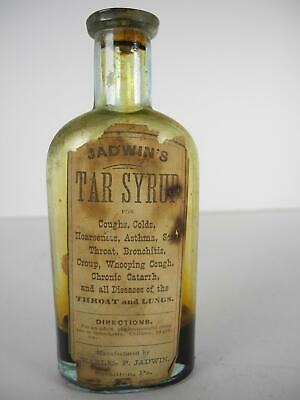 Antique Jadwin's Tar Syrup Scranton, PA Quack Medicine Bottle with Paper Label
