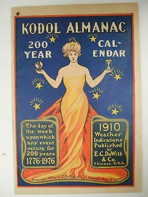 c1909 Kodol Almanac 200 Year Calendar Book Advertising Quack Medical Products