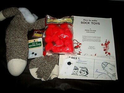 Vintage~How To Make Sock Toys Booklet~1958~& Partially Finished Sock Toy