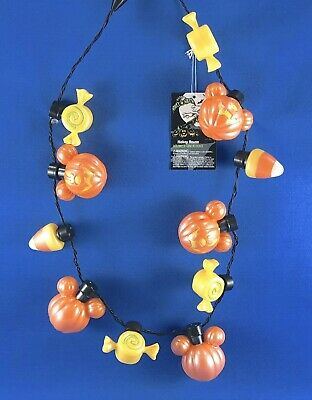 Disney Parks Halloween 2019 Mickey Pumpkin Glow Light Up Necklace Candy Corn