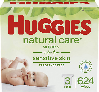 HUGGIES Natural Care Unscented Baby Wipes Sensitive, 3 Refill Packs 624 Total