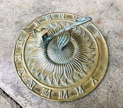 """Antique Style Solid Brass Hummingbird On Branch Sundial 7"""" MSRP $140"""