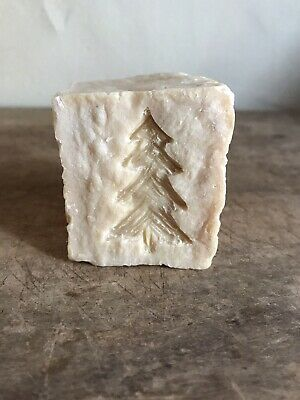 Early Antique Large Thick Chunk OLD Lye Soap Hand Carved Christmas Tree AAFA #1