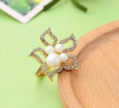 Betsey Johnson pearl gold crystal alloy flowers rings fashion wedding Jewelry