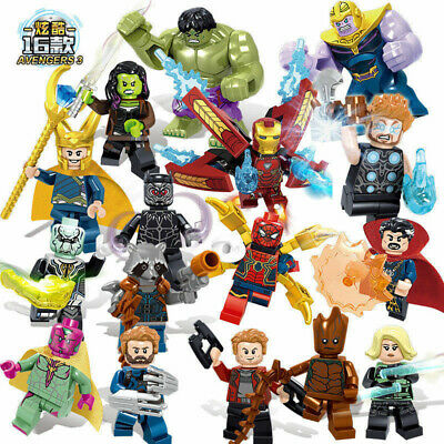16PC Avengers Superheroes Thanos Hulk Iron Man Mini figures Building Blocks Toy)