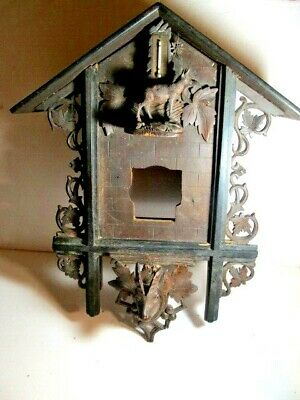 Rare Large Black Forest Carved Cuckoo Clock Case Ram Head Thermometer Kammer