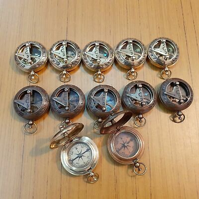 Lot Of 12 Antique Brass Push Button Sundial Compass Christmas Day Gift