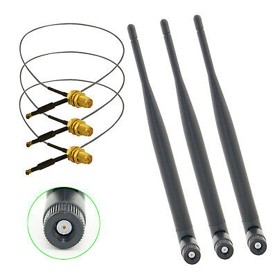 12in u.fl cable 3x6dBi Dual Band WiFi RP-SMA Antennas for PCI-E Express Cards