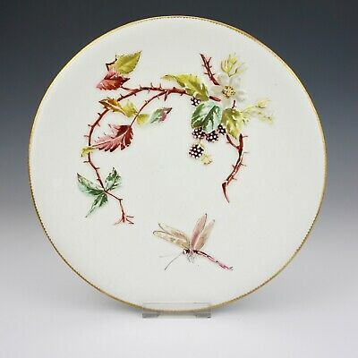 Antique Bodley Porcelain - Aesthetic Movement Hand Painted Insect & Flower Plate