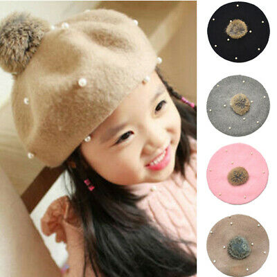 Infant Kids Child Girls Hats Pearl Braid Beanie Hat Winter Warm Knit Fur Pom Cap