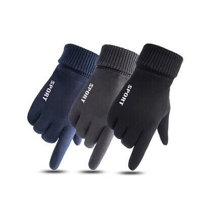 Men Women Ladies Winter Warm Suede-lined Gloves Windproof Touch Screen Mittens