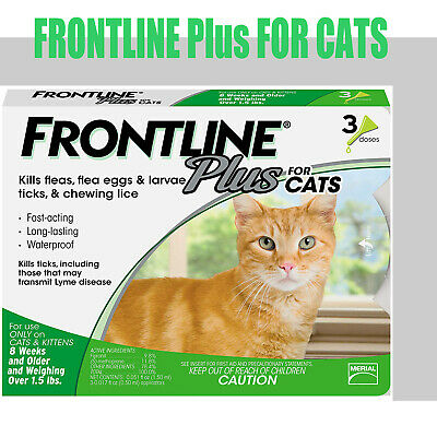 Frontline Plus 3 Month Supply For Cats 3 Doses Flea and Tick Treatment