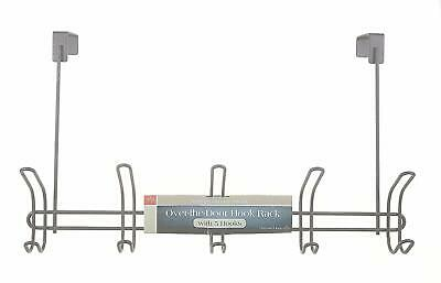 3 Pack Chorme Over The Door Hook Racks with 5 Hooks Each