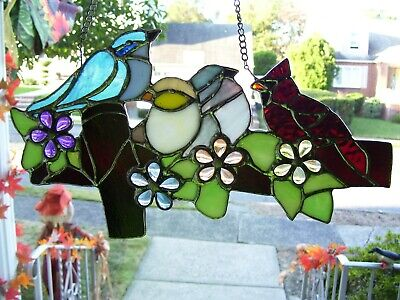 Stained Glass Birds on a Fence  Sun-catcher (Real Glass)