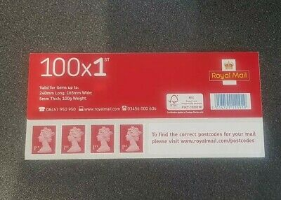 1 x 100 x genuine 1st Class Self Adhesive Booklet (Red Stamps)