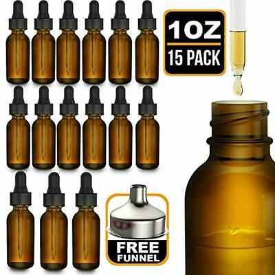 15 Refillable Containers Pack Essential Oil Bottles - Round Boston Empty Amber