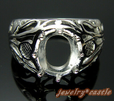 STERLING SILVER 925 ART DECO FILIGREE ANTIQUE 9x7MM OVAL SEMI MOUNT SETTING RING