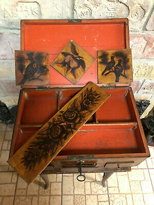 Antique painted Wooden Jewelry Sewing Storage 3 drawers Box w. lock with key