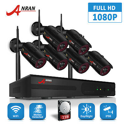 Home Security Camera System 1080P 6Pcs 2TB Hard Drive Wireless Outdoor WiFi CCTV