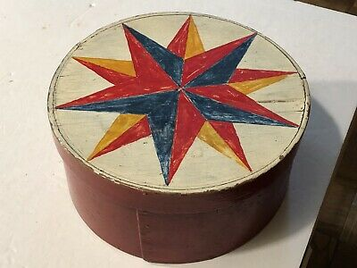 Antique Primitive Painted Decorated Pantry Box Starburst Red-Gray Green AAFA