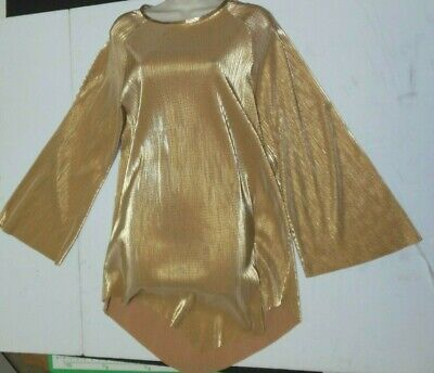 Praisewear Tunic Gold micropleat Body Wrappers $49.50 retail long sleeve ladies