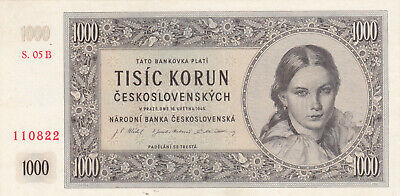 1000 Korun Extra Fine Banknote From Czechoslovakia 1945 Pick-74 Not Perforated