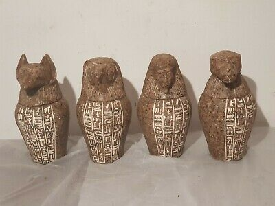 Rare Antique Ancient Egyptian 4 canopic jars internal organs Mummy 1730-1650BC