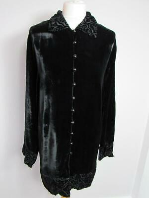 MARKS & SPENCER ST MICHAEL Ladies Black Velvet Long Blouse Shirt Size 18 VGC