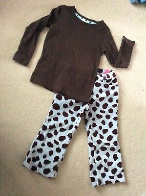 Worn once Mini Boden blue & brown spotty trousers & top age 3 years