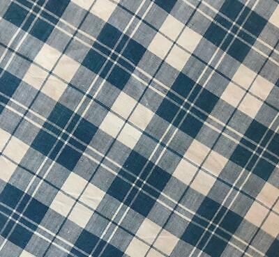 BEAUTIFUL 19th CENTURY FRENCH INDIGO CHECK LINEN COTTON TICKING, 384