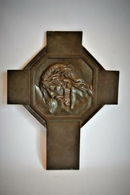 ANTIQUE 19thC FRENCH Signed BRONZE RELIGIOUS WALL PLAQUE Jesus Crown Of Thorns