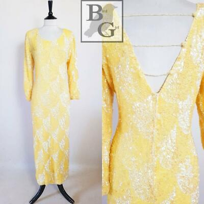 Swee Lo Designer 1980S Vintage Yellow Stunning Sequin Evening Dress 14-16