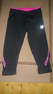 Ladies girls karrimor black pink leggings capri exercise gym run 3/4 UK 8 bnwot