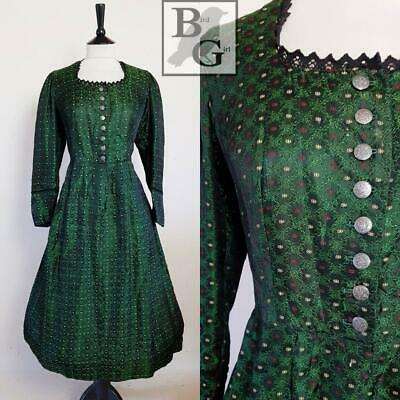 Austrian Folk Jacquard Original 1950S Vintage Green Swing Dress 14-16