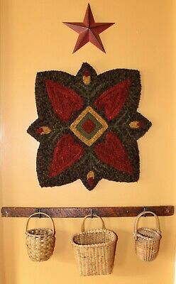 Primitive Hooked Rug Pattern On Monks ~ Hearts In Bloom