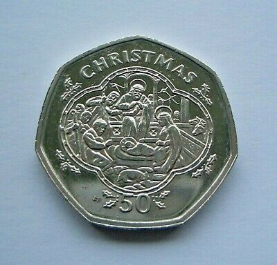 1993 ISLE OF MAN CHRISTMAS 50p COIN - NATIVITY SCENE - BB DIE - IoM MANX XMAS