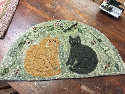 Primitive Hooked Rug Pattern On Monks ~ Hobbes & Bo